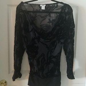 Sheer black floral tunic